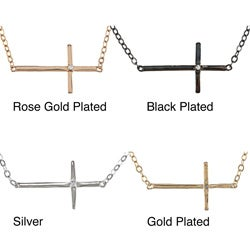 La Preciosa Sterling Silver Sideways Cross CZ Necklace