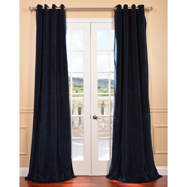 Midnight Blue Grommet Velvet Blackout Curtain Panel