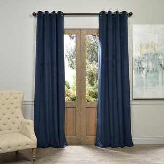 EFF Midnight Blue Grommet Velvet Blackout Curtain Panel