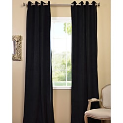 Warm Black Grommet Velvet Blackout Curtain Panel