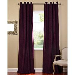 Eggplant Grommet Velvet Blackout Curtain Panel