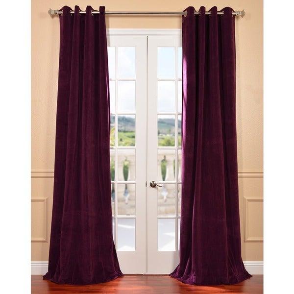 Exclusive Fabrics Eggplant Grommet Velvet Blackout Curtain Panel