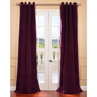 EFF Eggplant Grommet Velvet Blackout Curtain Panel