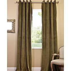 Hunter Green Grommet Velvet Blackout Curtain Panel