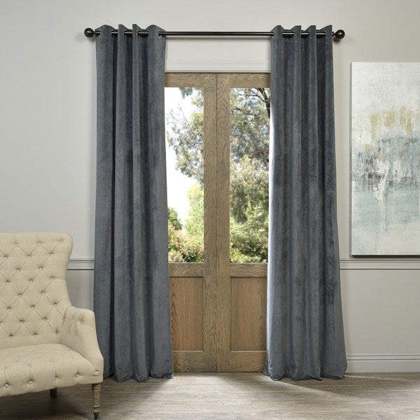 Natural Grey Grommet Velvet Blackout Curtain Panel