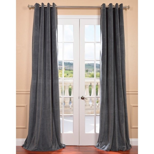 EFF Natural Grey Grommet Velvet Blackout Curtain Panel