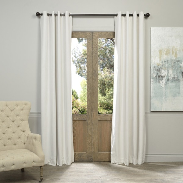 Off White Grommet Velvet Blackout Curtain Panel