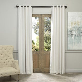 EFF Off White Grommet Velvet Blackout Curtain Panel