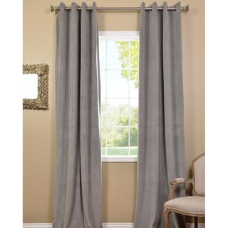 Grommet Silver Grey Velvet Blackout Curtain Panel