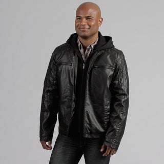 Black Rivet Men's Fleece Hood Faux Leather Jacket