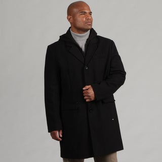 Black Rivet Men's Hooded Wool Blend Topper Coat