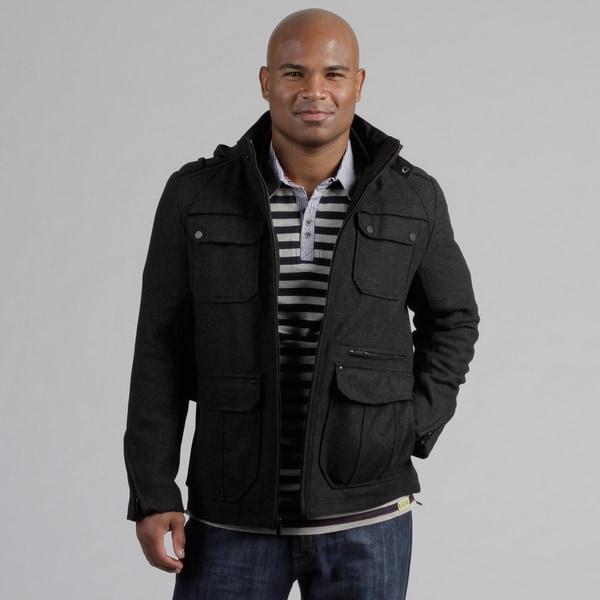 Black Rivet Men's Tweed Wool Blend Coat