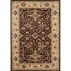 Taj Mahal Handmade Chocolate Brown Wool Rug (5' x 8')