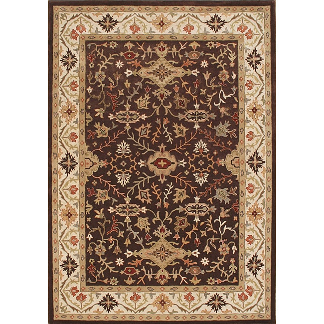 Alliyah Handmade Chocolate Brown New Zealand Blend Wool Rug
