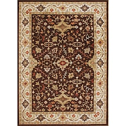 Taj Mahal Handmade Chocolate Brown Wool Rug (9' x 12')