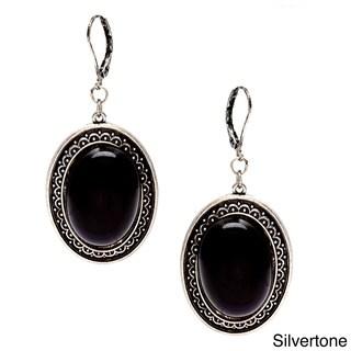 Alexa Starr Black Lucite Oval Earrings