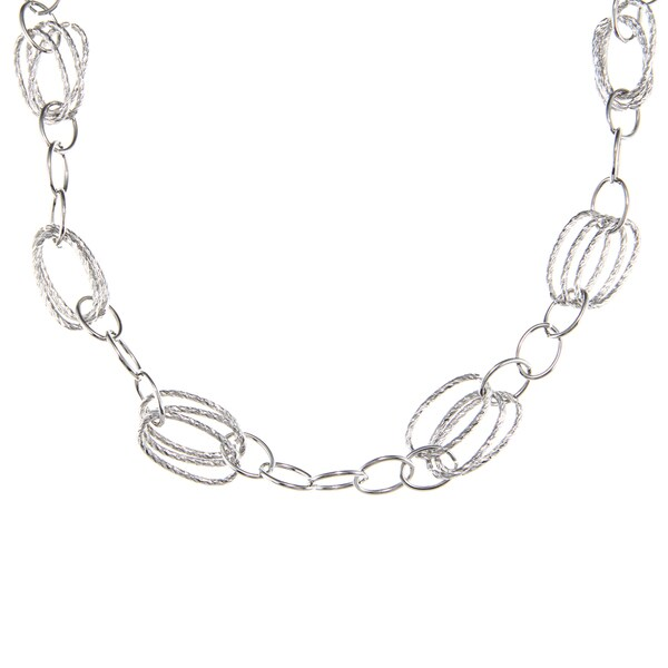 Alexa Starr Silvertone Long Oval Chain Link Necklace