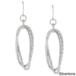 Alexa Starr Silvertone Diamond-cut Oval Earrings