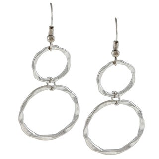 Alexa Starr Silver Hammered Rings Drop Earrings