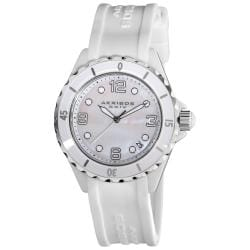 Akribos XXIV Women's White Ceramic Strap Watch