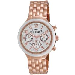 August Steiner Women's Swiss Quartz Multifunction Ceramic Bezel Rose-Tone Watch