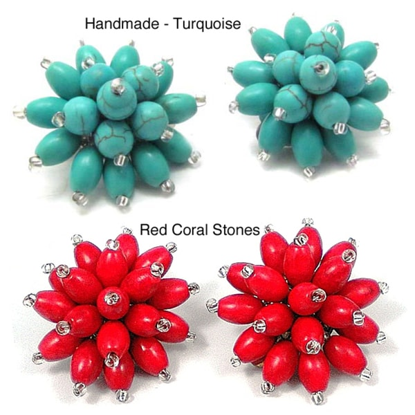 Handmade Turquoise Chrysanthemum Blast Clip On Earrings (Thailand)