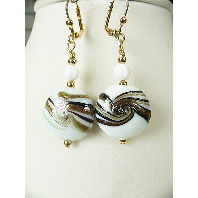 'Nadine' Brass Glass Swirl Dangle Earrings