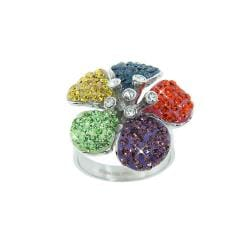 Eternally Haute Stainless Steel Multi-colored Crystal Flower Cocktail Ring