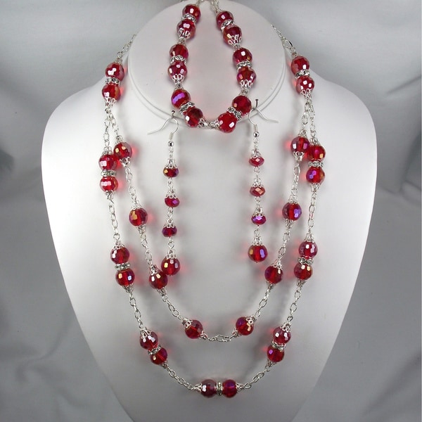 Silverplated Light Red Crystal Wedding Jewelry