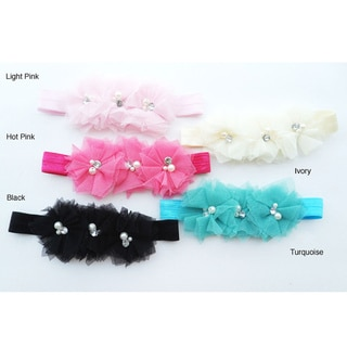 Triple-flower Gem Stretch Elastic Headband
