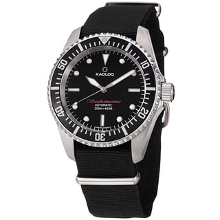 Kadloo Men's 'Scubmarine' Black Dial Fabric Strap Automatic Watch
