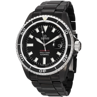 Kadloo Men's 'Ocean Date' Black Stainless Steel Automatic Watch