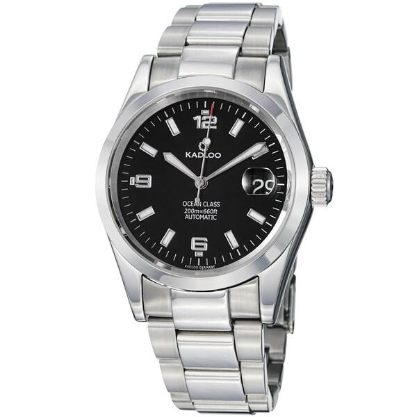Kadloo Men's 'Ocean Class' Black Dial Stainless Steel Automatic Watch