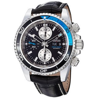 Kadloo Men's 'Ocean Chrono' Black Dial Leather Strap Automatic Watch