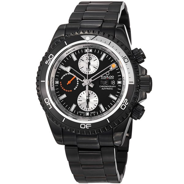 Kadloo Men's 'Windward Master' Black Stainless Steel Chronograph Watch