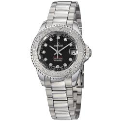 Kadloo Women's 80886-BK 'Match Race' Black Diamond Dial Stainless Steel Watch