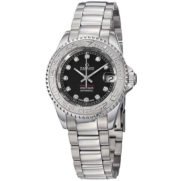 Kadloo Women's 80886-BK 'Match Race' Black Diamond Dial Stainless Steel Watch
