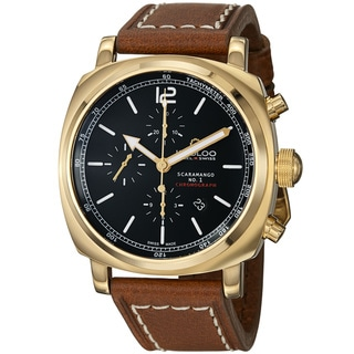 Kadloo Men's 'Scaramango' Black Dial Brown Strap Chronograph Watch