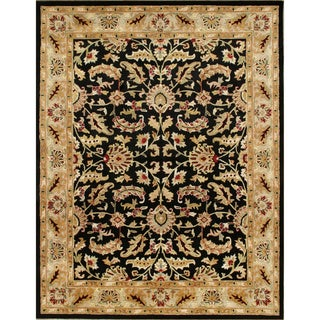 'Taj Mahal' Black New Zealand Wool Persian Pattern Rug (9' x 12')