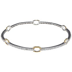 La Preciosa Sterling Silver Cubic Zirconia Ring Bangle