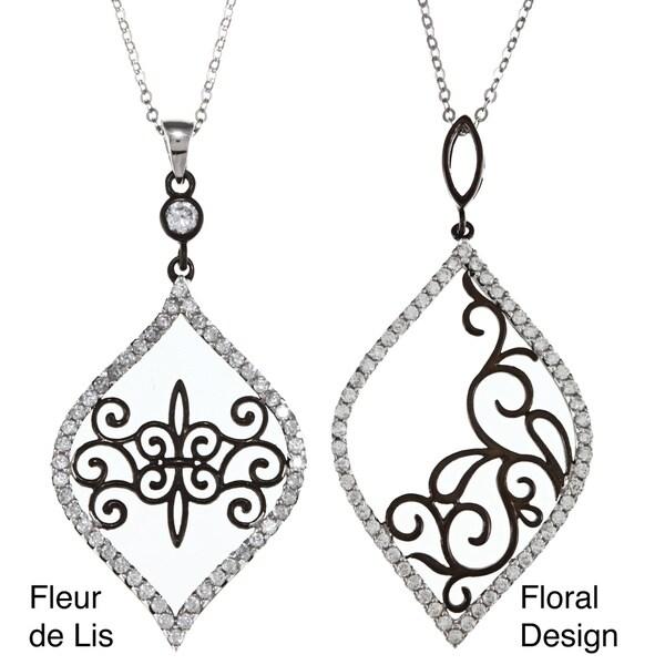 La Preciosa Sterling Silver Black Rhodium Swirl Pendant