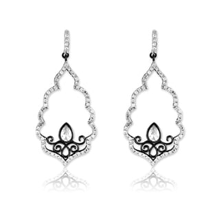 La Preciosa Sterling Silver Black Rhodium Scalloped CZ Earrings