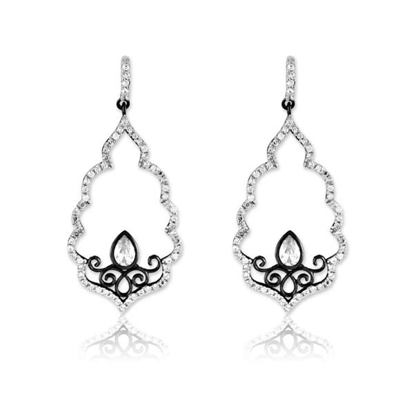 La Preciosa Sterling Silver Black Rhodium Scalloped CZ Earrings