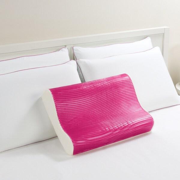 Comfort Memories Pink Wave Memory Foam and Gel Contour Pillow