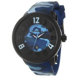 Tendence Men's 'Gulliver Round' Polycarbonate Stainless Steel Quartz Watch in Blue Camouflage Print
