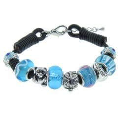 Eternally Haute Silverplated and Leather Aqua Murano Style Glass Charms Bracelet