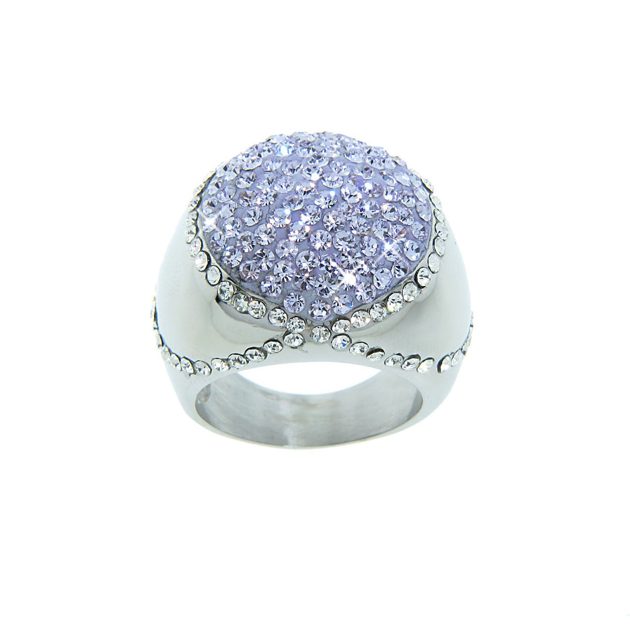 Eternally Haute Stainless Steel Violet and White Crystal Cocktail Ring