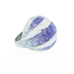 Eternally Haute Stainless Steel Violet and White Crystal Striped Cocktail Ring