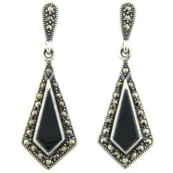 Dolce Giavonna Silver Overlay Marcasite/ Black Onyx Drop Earrings