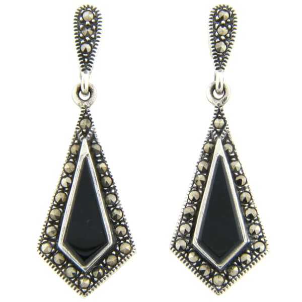 Dolce Giavonna Silverplated Marcasite/ Black Onyx Drop Earrings 9200948